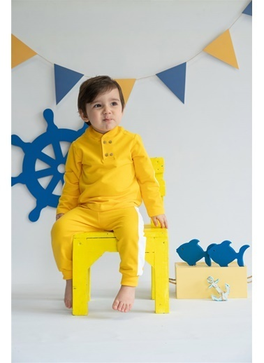 Nila Kids Yellow Blossom Organik Erkek Bebek Eşofman Altı Sarı